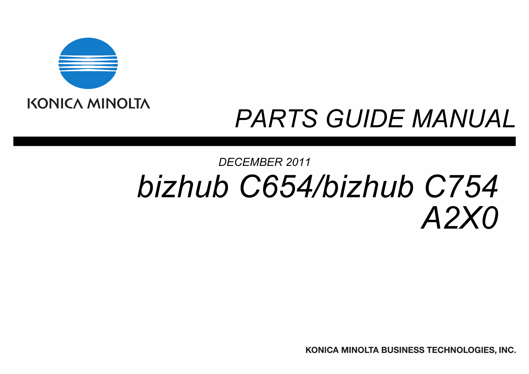 Konica-Minolta bizhub C654 C754 Parts Manual